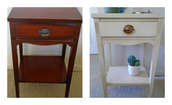 before and after side table with Annie Sloan ochre