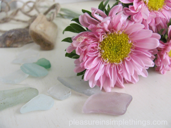 flowers and seaglass