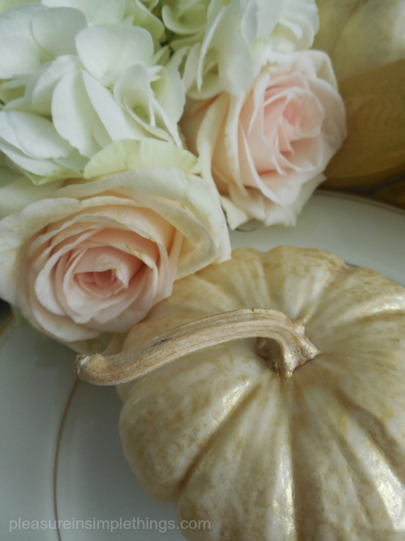 white pumpkin and roses