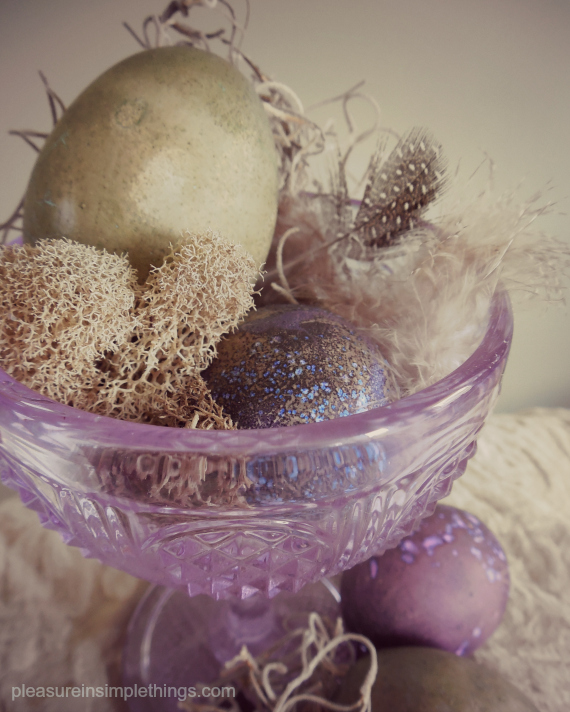 easter eggs in purple glass