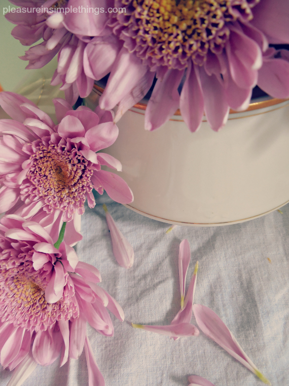 may day flowers in a sugar bowl