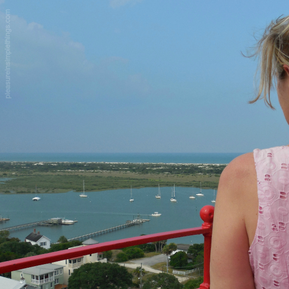 Jackie at the top of the ST. Augustine lighthouse pleasure in simple things