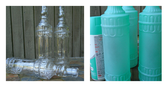 before and after Krylon sea glass paint pleasure in simple things blog